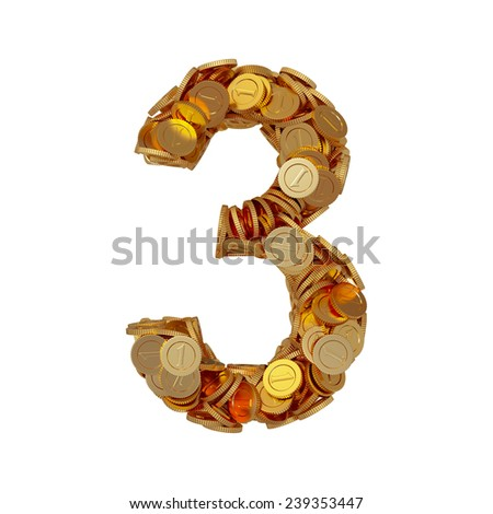 3d illustration of alphabet number digit three 3 with golden coins isolated on white background - stock photo