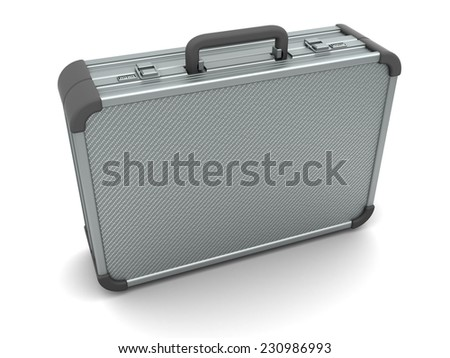 3d illustration of aluminum suitcase over white background - stock photo