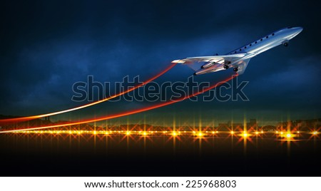 3d illustration of an aircraft at take off on night airport. Bright lights at runway and speed lines from airplane wings - stock photo