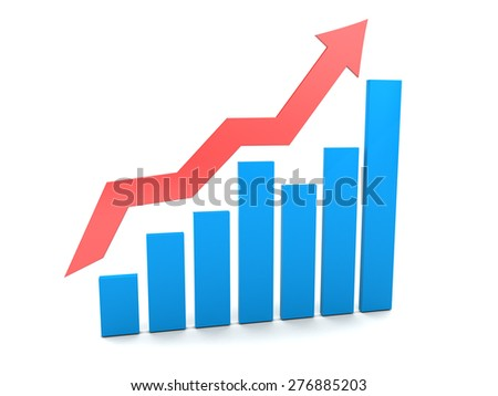 3d illustration of an business graph,over white background - stock photo