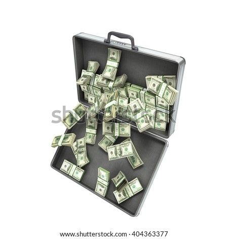3d illustration of an open metal case with pull-down money isolated on white background - stock photo