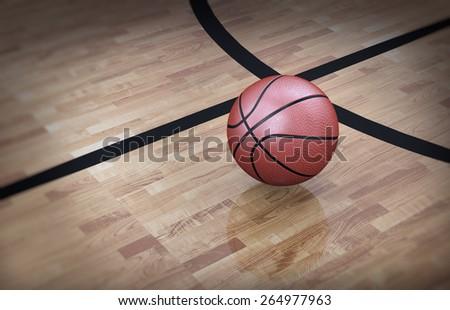 3d illustration of an orange official ball on basketball court floor - stock photo