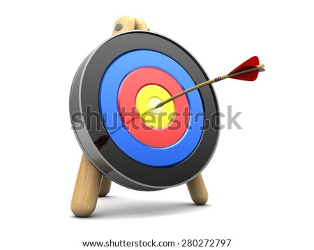 3d illustration of archery target with arrow in center - stock photo