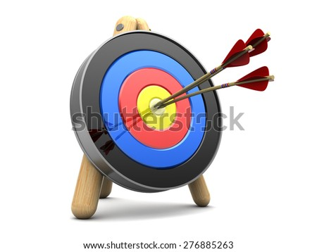 3d illustration of archery target with three arrows in center - stock photo