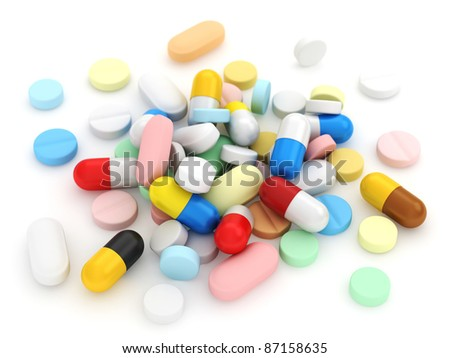 3D Illustration of Assorted Medicines - stock photo