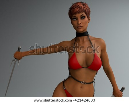3d illustration of athletic young woman wearing red bikini holding sai - stock photo