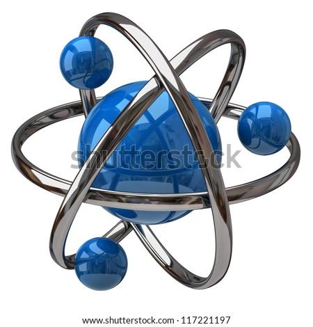 3d illustration of atom isolated on white background - stock photo