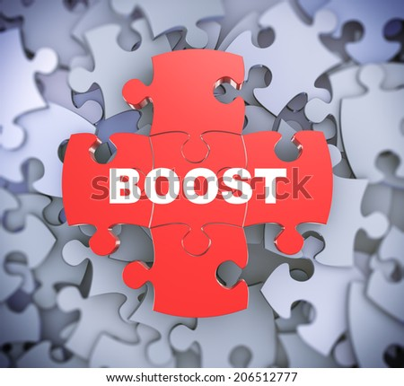 3d illustration of attached jigsaw puzzle pieces word boost presentation on background of heap of puzzle pieces - stock photo