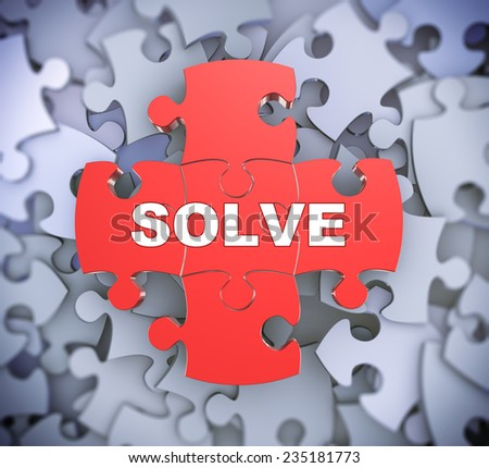 3d illustration of attached jigsaw puzzle pieces word solve presentation on background of heap of puzzle pieces - stock photo