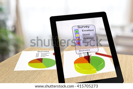 3D illustration of augmented reality with a tablet pointing at a paper enabling the user to take the survey online - stock photo