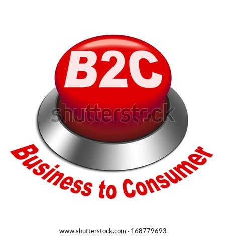 3d illustration of b2c ( business to consumer ) button isolated white background - stock photo