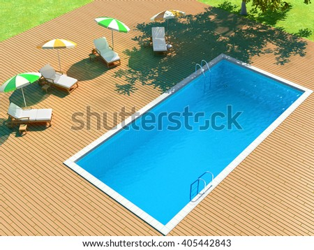 3d illustration of backyard with pool and lounge chairs for relaxing - stock photo