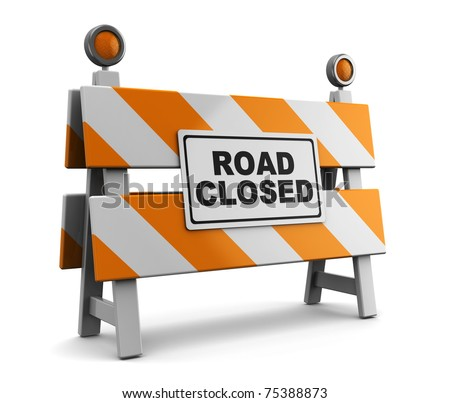 3d illustration of barrier with 'road closed' sign - stock photo