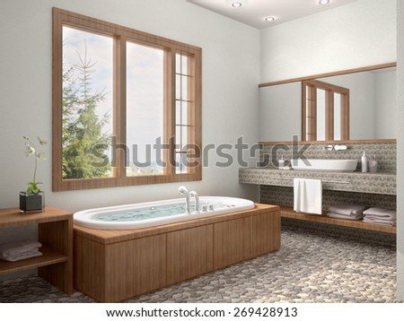 3d illustration of bathroom interior with window in contrasting  - stock photo