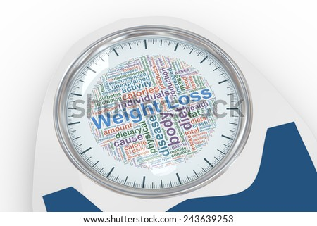 3d illustration of bathroom weight scale with weight loss wordcloud dial. Concept of dieting, exercise and weight loss - stock photo