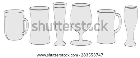 2d illustration of beer glasses - stock photo