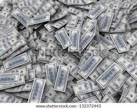 3d illustration of big money heap background - stock photo