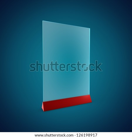 3D Illustration of Blank Information Glass Holder Render isolated on Background - stock photo