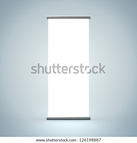 3D Illustration of Blank Roll Up Render isolated on Background - stock photo