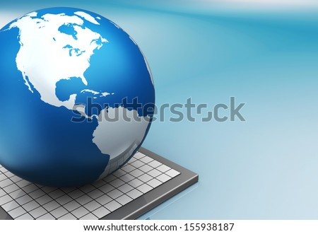3d illustration of blue colors background with earth globe - stock photo