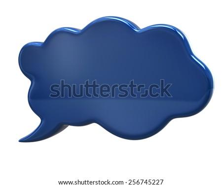 3d illustration of blue communication speech bubble - stock photo