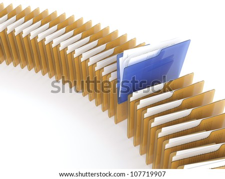 3D illustration of blue folder with files among orange folders on white background - stock photo