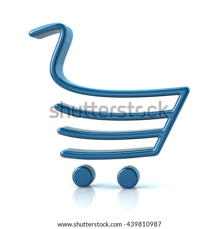 3d illustration of blue shopping cart isolated on white background - stock photo