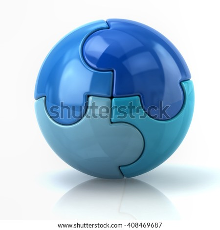 3d illustration of blue spherical puzzle globe isolated on white background - stock photo