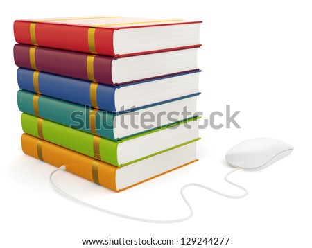 3d illustration of books with computer mouse isolated - stock photo