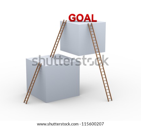 3d illustration of boxes and ladders with word goal. Concept of achieveing goal faster with shortcut. - stock photo