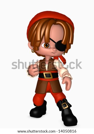3d illustration of boy dressed up as a happy little pirate - stock photo