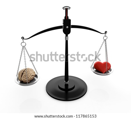 3D illustration of brain and heart on scales isolated on white - stock photo