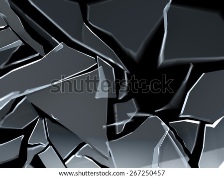 3d illustration of breaking glass over black background with motion blur - stock photo