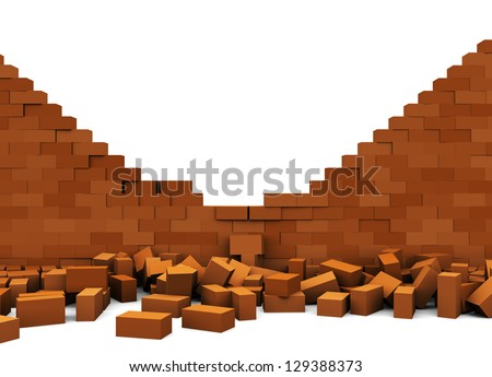 3d illustration of broken brick wall, over white background - stock photo