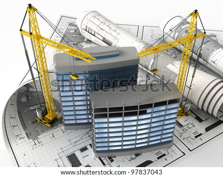 3d illustration of building design concept - stock photo