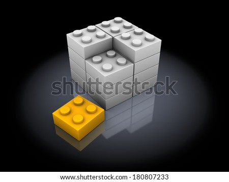 3d illustration of building with blocks over black background - stock photo