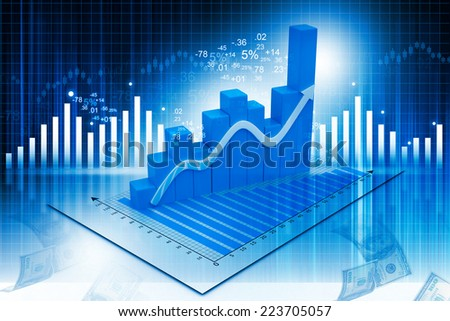 3d illustration of Business graph on abstract financial background - stock photo