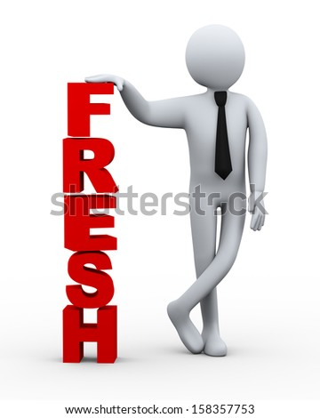 3d illustration of business man presenting word fresh.  3d rendering of human people character. - stock photo