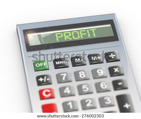 3d illustration of calculator with digital text word profit on lcd display - stock photo
