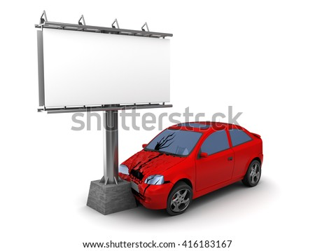 3d illustration of car crash with billboard - stock photo