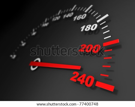 3d illustration of car speed meter close-up - stock photo