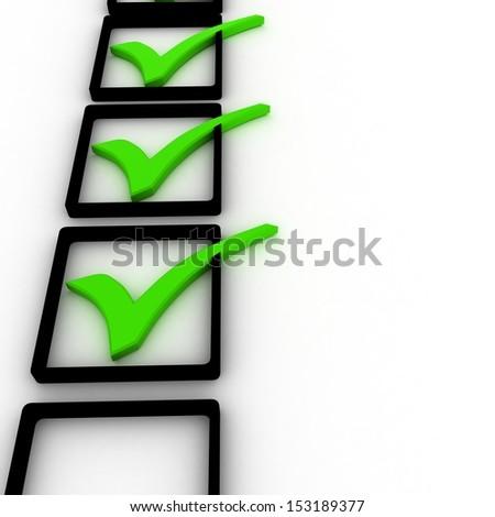 3d illustration of check mark over white background - stock photo