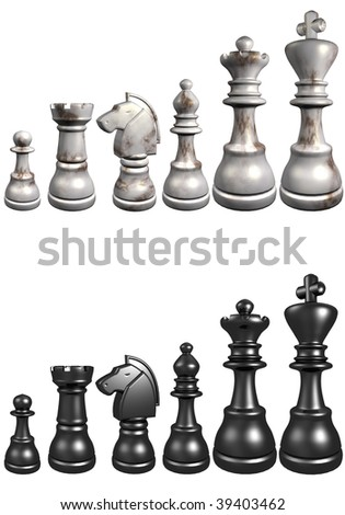 3d illustration of chess board on white background - stock photo