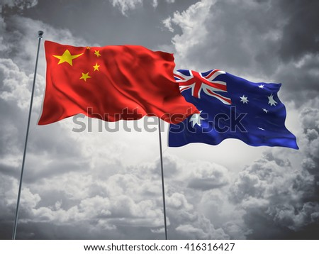 3D illustration of China & Australia Flags are waving in the sky with dark clouds  - stock photo