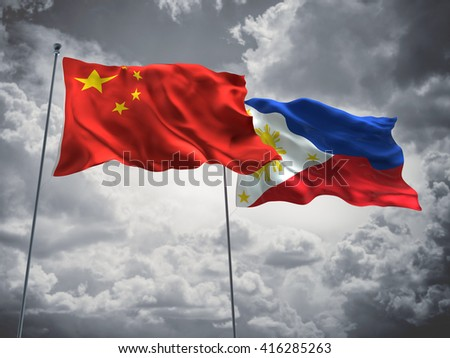 3D illustration of China & Philippines Flags are waving in the sky with dark clouds  - stock photo