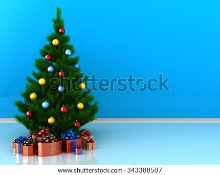 3d illustration of christmas tree with presents, over blue background with copy space - stock photo