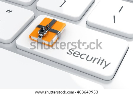 3d illustration of chrome combination padlock with yellow computer folder on the computer keyboard. Security concept - stock photo
