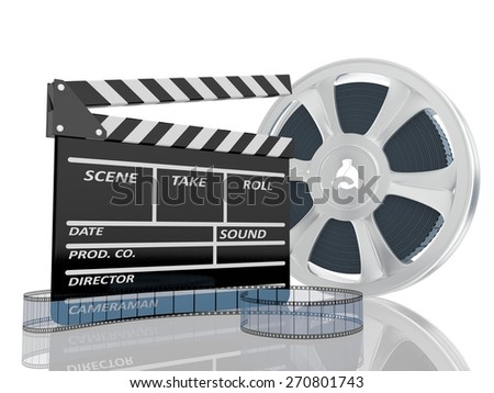 3d illustration of cinema clap and film reel, over white background - stock photo