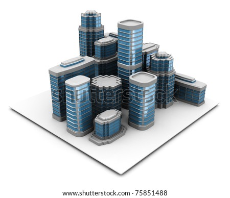 3d illustration of city block, over white background - stock photo