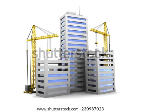 3d illustration of city buildings construction, over white background - stock photo